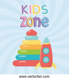 kids zone, plastic pyramid and rocket icons