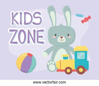 kids zone, plastic train and rabbit toys
