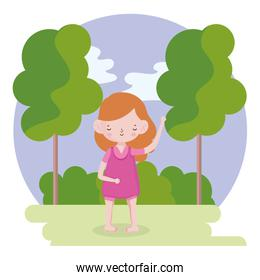 childrens day, little girl with pink dress in the park