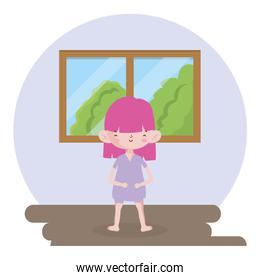 childrens day, little girl in the room with window