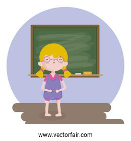 childrens day, little girl with chalkboard school