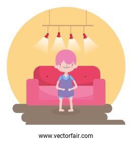 childrens day, little boy with sofa and lamps light room