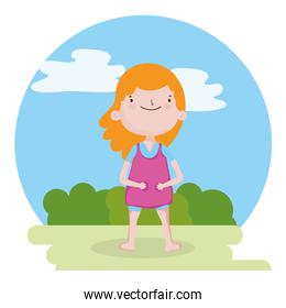 childrens day, little girl standing in the meadow