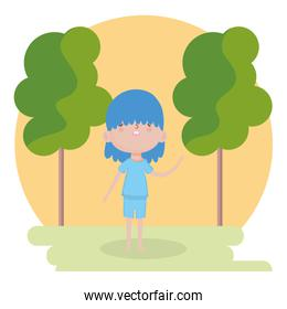 childrens day, little boy cartoon with blue clothes in the park