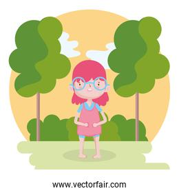 childrens day, little girl with glasses in the park