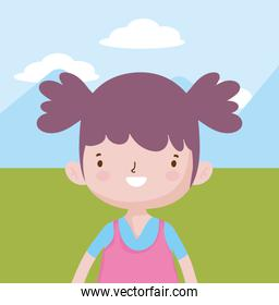 happy childrens day, cute little girl with pony tails outdoor