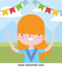 happy childrens day, cute little girl field mountains bunting decoration