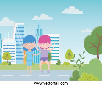 happy childrens day two little boys standing street city foliage leaves