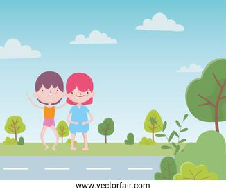 happy childrens day cute little boys in the road with trees