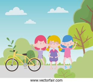 happy childrens day cute group little girls with bike in park