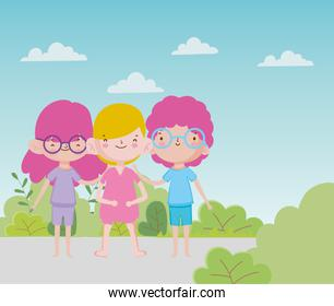 happy childrens day group little boys and girl road foliage nature