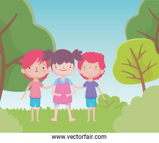 happy childrens day cute little boys and girl in the grass trees nature