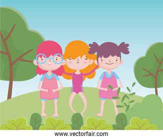 happy childrens day cute little girls cartoon in the grass trees nature