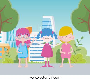 happy childrens day cute little girls and boy cartoon in the street with trees