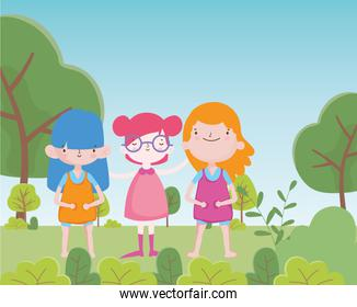 happy childrens day cheerful group little girls in the park natural
