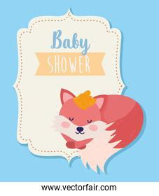 baby shower cute fox sleeping animal cartoon