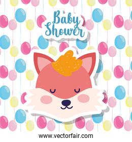baby shower cute fox head balloons decoration cartoon