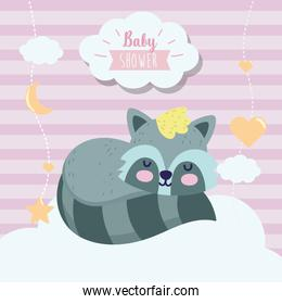 baby shower cute raccoon sleeping animal cartoon