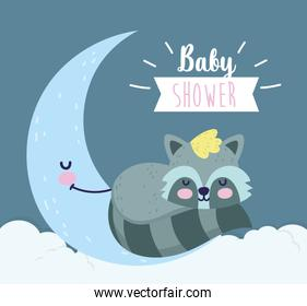 baby shower cute raccoon sleeping on half moon