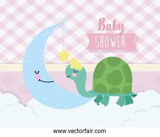 baby shower cute turtle and moon with star cartoon