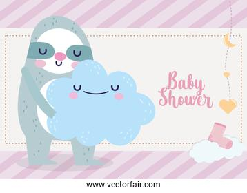 baby shower cute sloth holding cloud cartoon