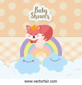 baby shower cute fox sleeping on rainbow with clouds cartoon