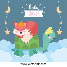 baby shower cute turtle and sleeping fox clouds cartoon