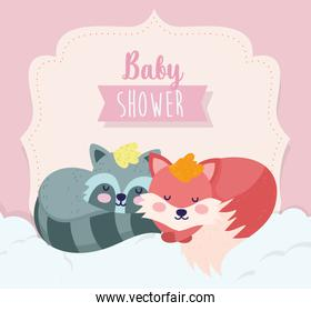 baby shower cute fox and raccoon sleeping cartoon
