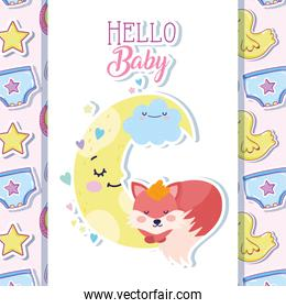 baby shower cute fox sleeping moon cartoon