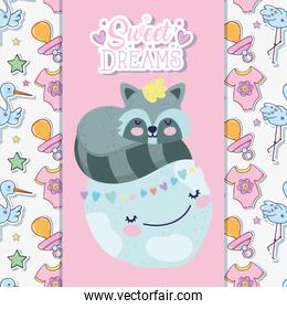 baby shower cute raccoon sleeping on world hearts love cartoon