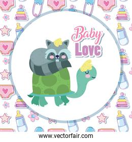 baby shower cute turtle and sleeping raccoon cartoon
