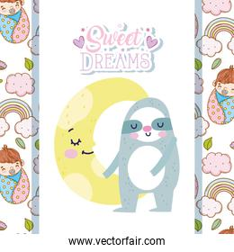 baby shower cute sloth and half moon cartoon