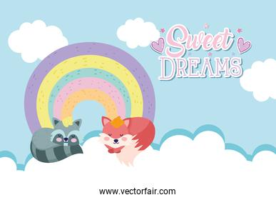 baby shower cute fox and raccoon sleeping rainbow with clouds cartoon