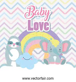 baby shower cute elephant sloth cloud rainbow cartoon