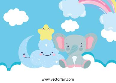 baby shower cute elephant half moon star cloud cartoon