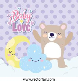 baby shower cute bear half moon cloud cartoon