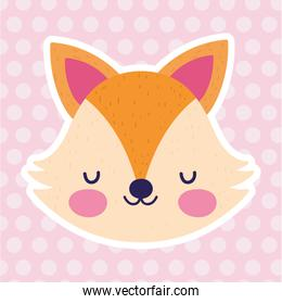 baby shower love fox face pink polka dots background