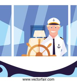 man sailor at the helm of the ship