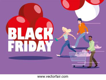 group of people with black friday label