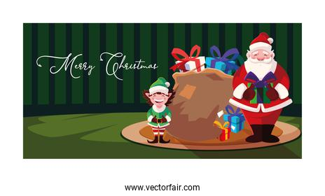 Merry christmas santa claus and elf vector design