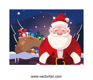 Merry christmas santa claus vector design