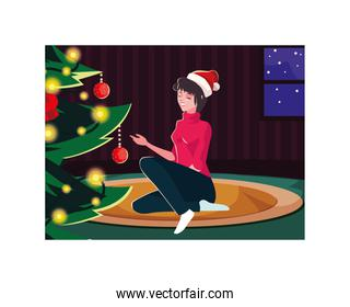 Merry christmas woman vector design