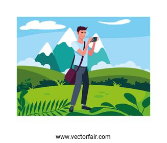 Man taking picture vector design
