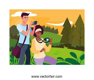 Woman and man taking picture vector design