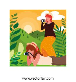 Women taking picture vector design