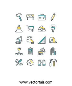 Isolated construction icon set fill vector design