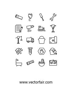 Isolated construction icon set line vector design