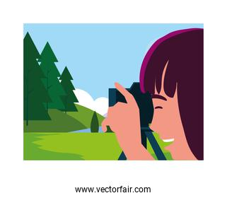 Woman taking picture vector design