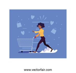 woman shopping vector design