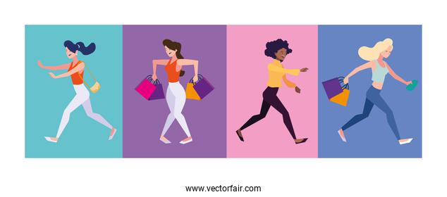 women shopping vector design